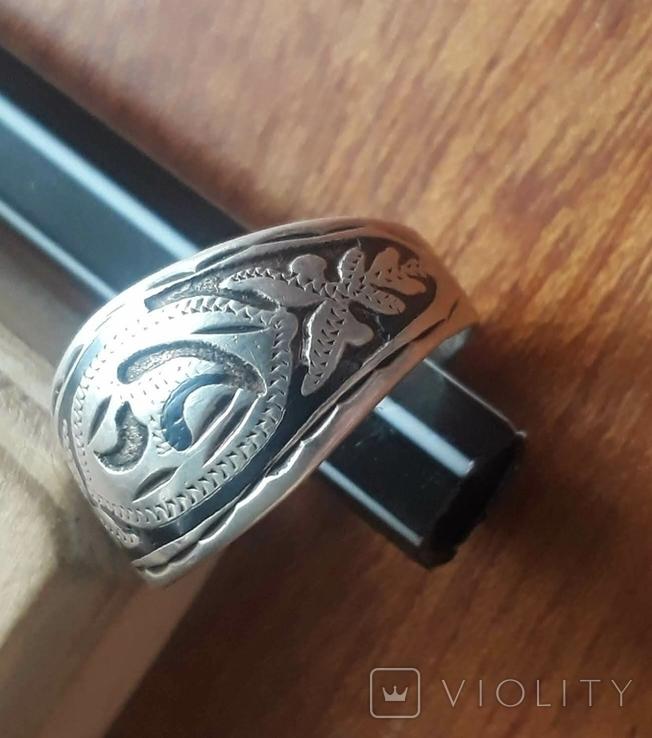 Перстень/кольцо серебро 875, фото №2