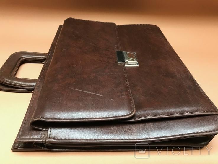 Коричневый кожаный портфель времён СССР., фото №4