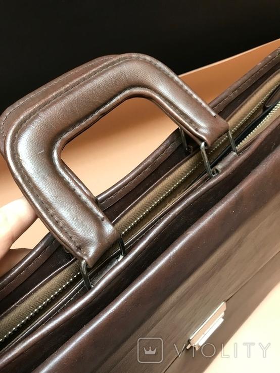 Коричневый кожаный портфель времён СССР., фото №6
