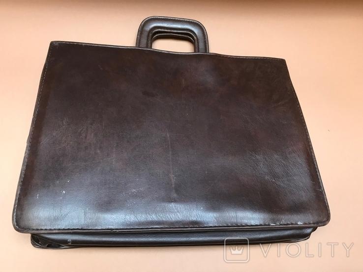 Коричневый кожаный портфель времён СССР., фото №7