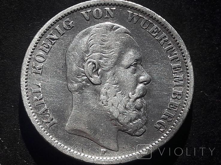 5 марок 1875 года Вюртемберг, фото №2