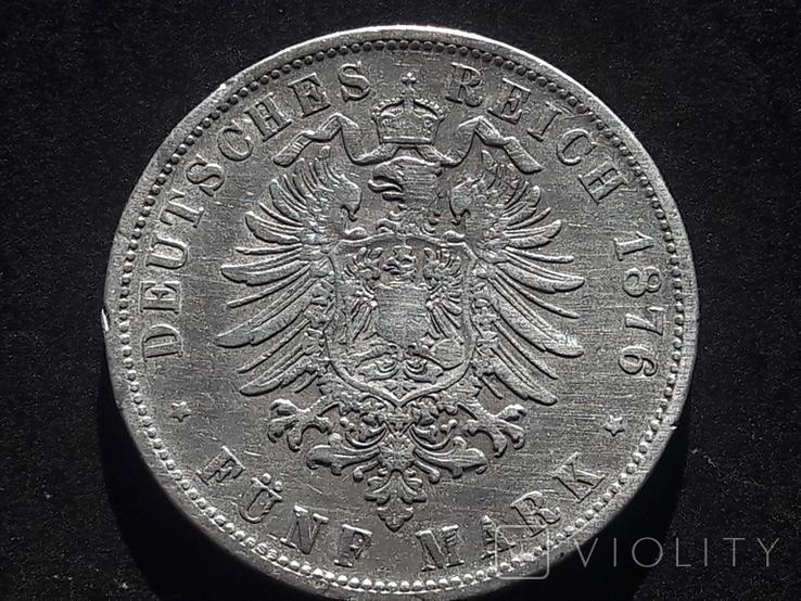 5 марок 1876 года Вюртемберг. Лот 1, фото №3