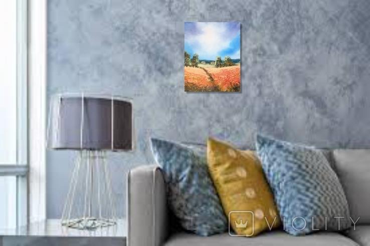 Картина, За червоним полем, 25х20 см. Живопис на полотні, фото №6