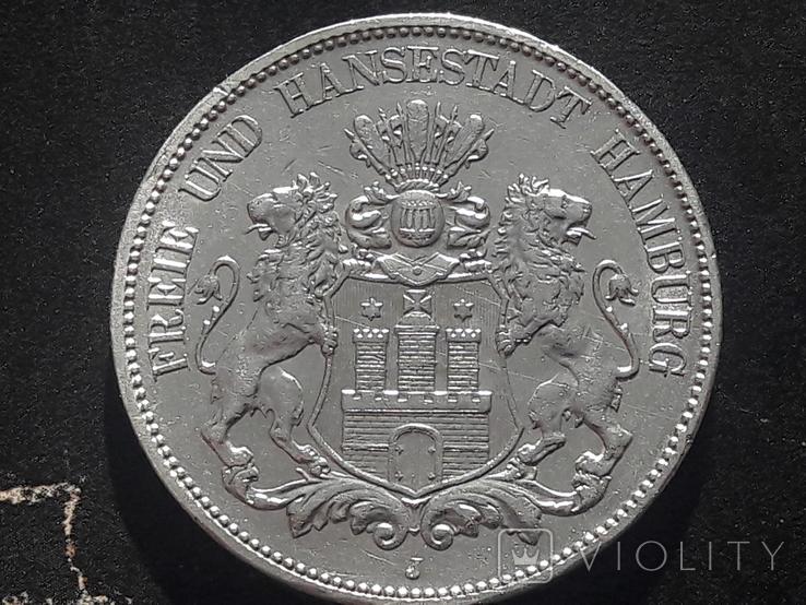 5 марок 1908 года ГАМБУРГ. Лот 1, фото №2