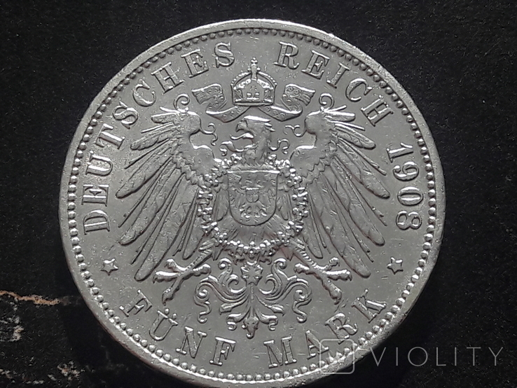 5 марок 1908 года ГАМБУРГ. Лот 1, фото №3