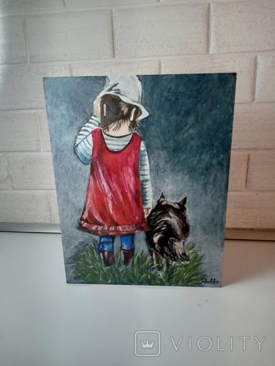 Девочка с собакой. Копия., фото №2