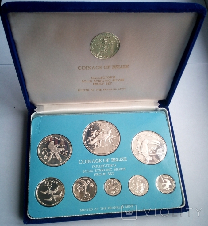 Белиз годовой набор 1975 года - серебро 925 пр. ПРУФ, фото №2