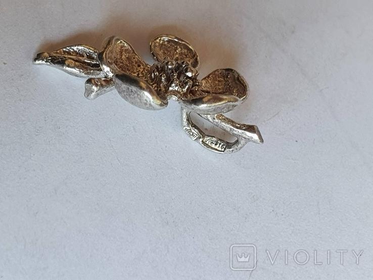 Советский подвес - цветок. Серебро 916 проба., фото №6