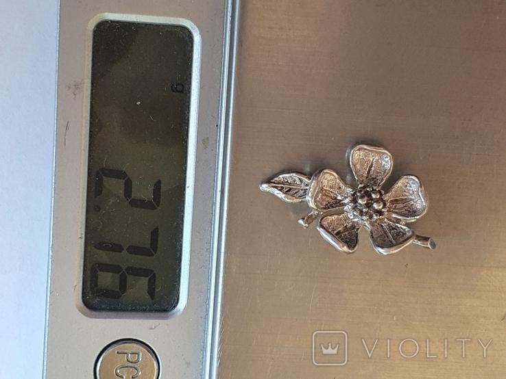 Советский подвес - цветок. Серебро 916 проба., фото №7