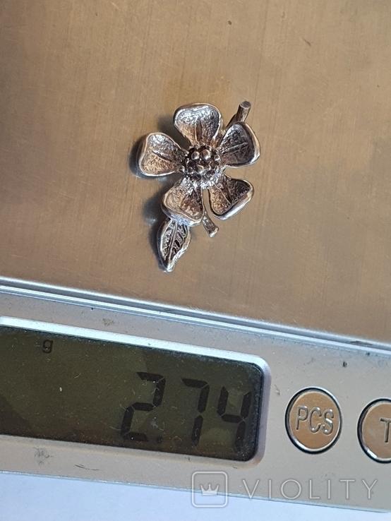 Советский подвес - цветок. Серебро 916 проба., фото №8