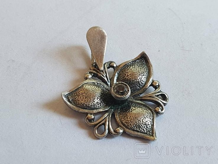 Советский подвес - цветок. Серебро 925 проба. СССР., фото №4