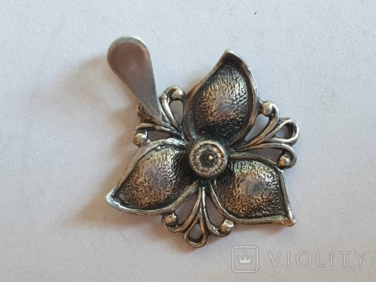 Советский подвес - цветок. Серебро 925 проба. СССР., фото №5