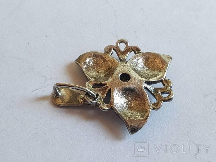 Советский подвес - цветок. Серебро 925 проба. СССР., фото №6