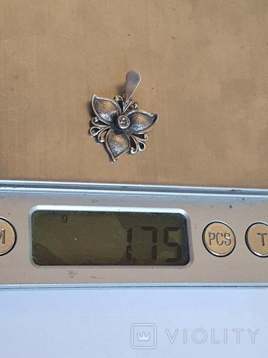 Советский подвес - цветок. Серебро 925 проба. СССР., фото №9