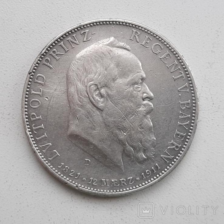 5 марок 1911 года Бавария, фото №2