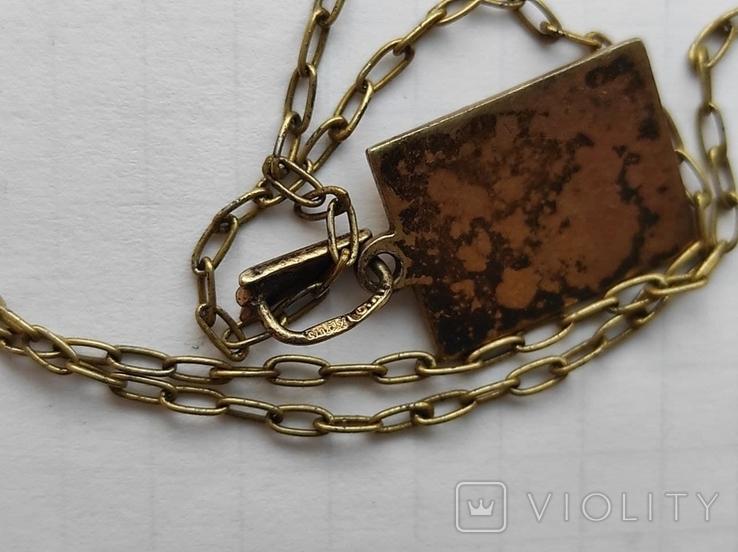 Кулон на цепочке серебро в позолоте 875 (звезда), фото №13