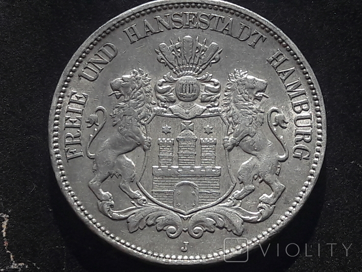 5 марок 1908 года ГАМБУРГ. Сохран!Лот 2, фото №2