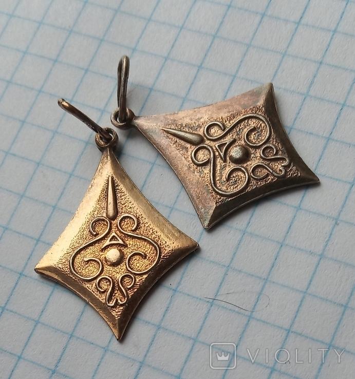 Изделие из серебра 875 пр. со звездой , 2 шт., фото №3