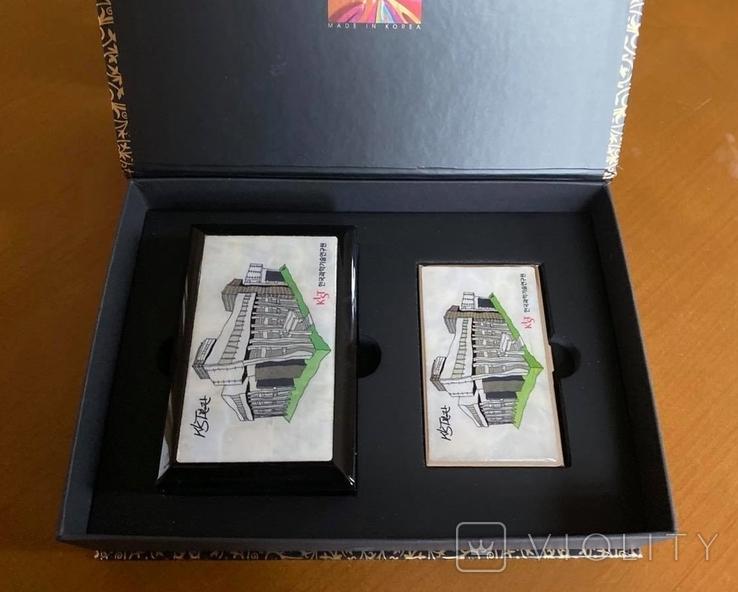 Шкатулка і візитниця. Лакова мініатюра з перламутром (Корея)., фото №2
