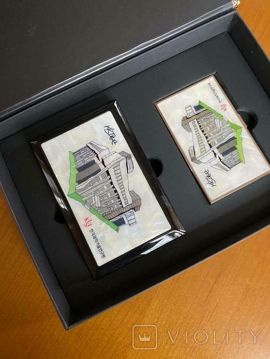 Шкатулка і візитниця. Лакова мініатюра з перламутром (Корея)., фото №4