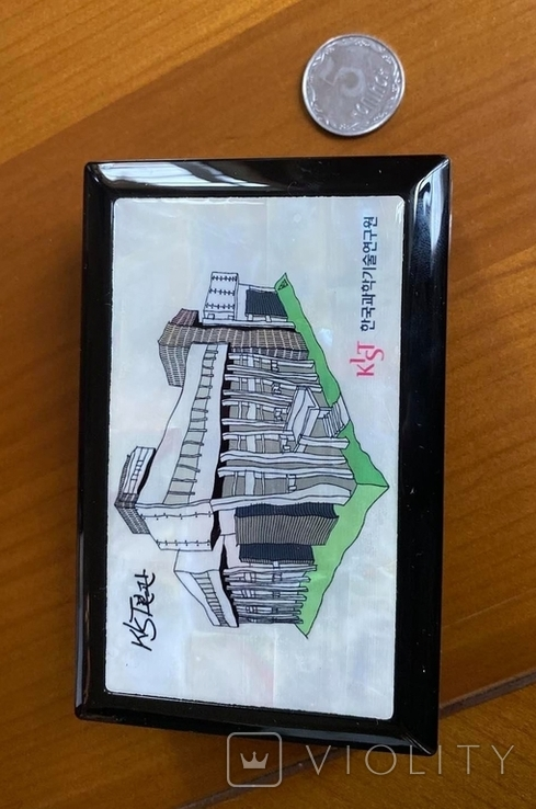 Шкатулка і візитниця. Лакова мініатюра з перламутром (Корея)., фото №5