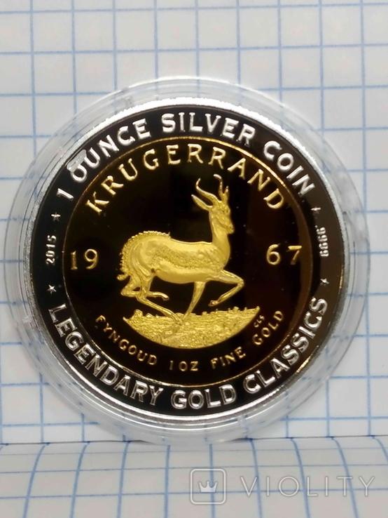 Бенін, 1000 франків КФА, 2015, серія Класика золотих монет світу - крюгеранд., фото №2