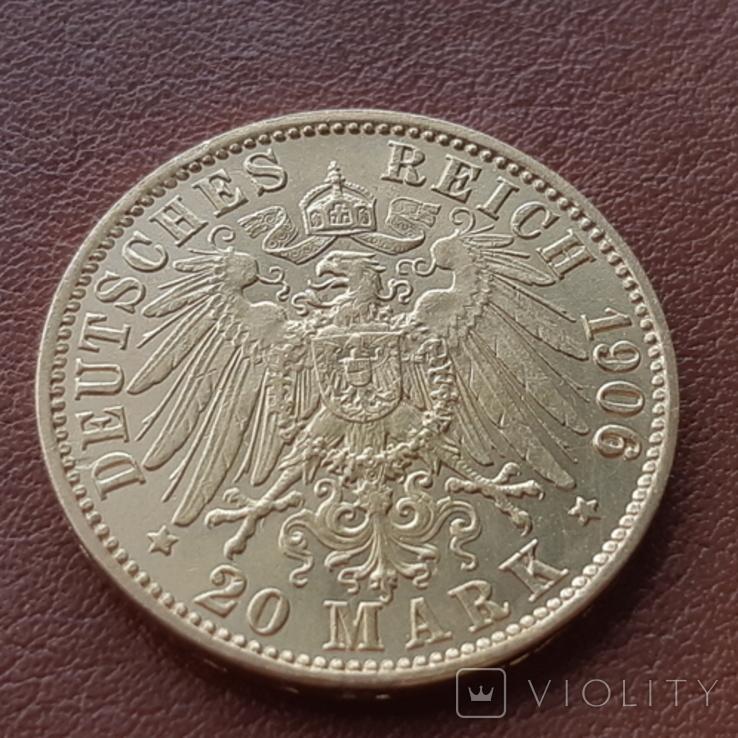Золото 20 марок 1906 Пруссия Германия, фото №9