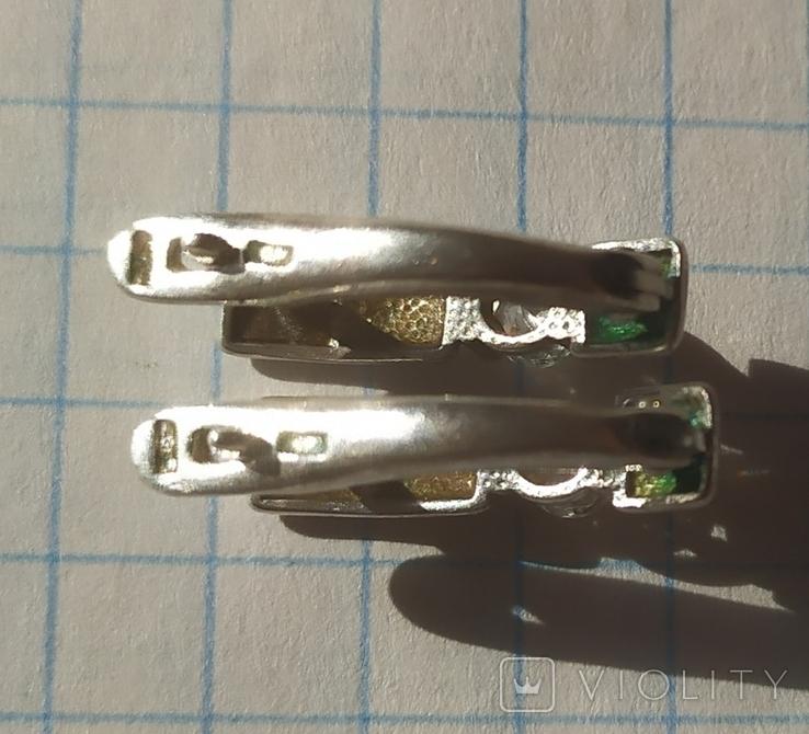 Серебряный гарнитур кольцо и серёжки 925 проба, фото №6