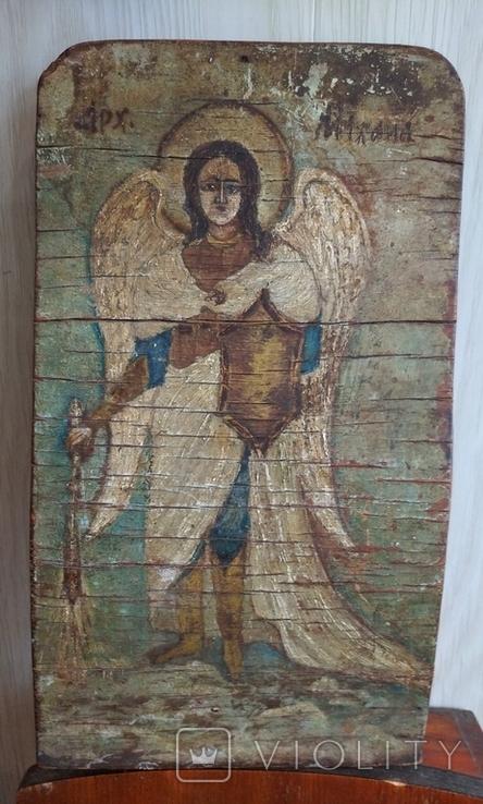 Икона, архангел Михаил, масло, фанера, старая., фото №2