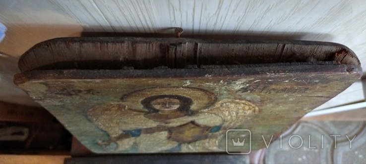 Икона, архангел Михаил, масло, фанера, старая., фото №7
