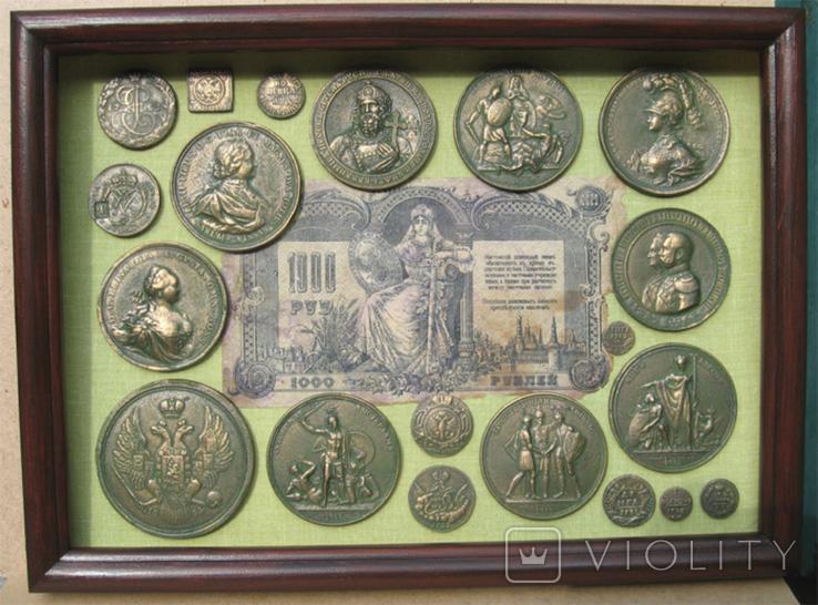 Медные монеты и настольные медали Копии, со стеклом, 37х27см., фото №2