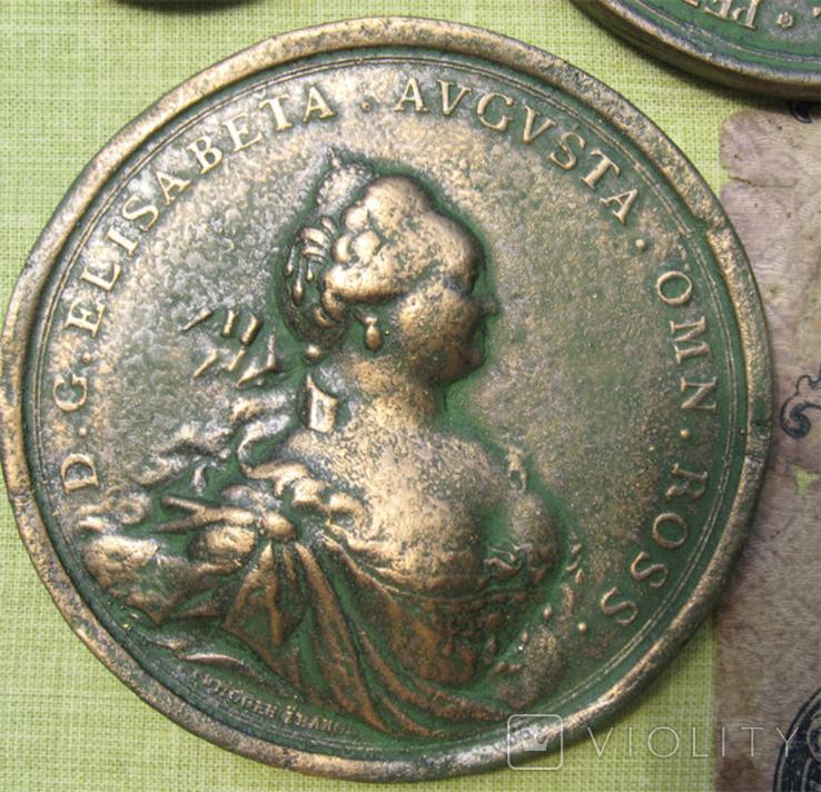 Медные монеты и настольные медали Копии, со стеклом, 37х27см., фото №11