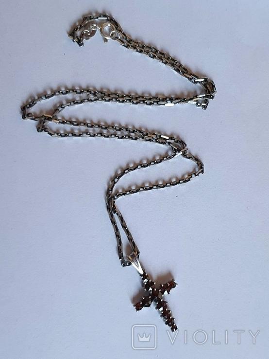 Крестик нательный. Серебро 925. Гранаты. Цепь 925 длина 50 см., фото №2