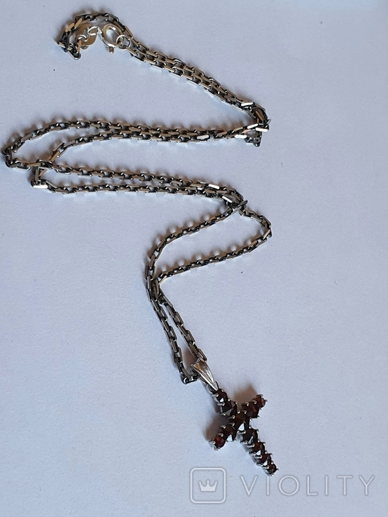 Крестик нательный. Серебро 925. Гранаты. Цепь 925 длина 50 см., фото №3