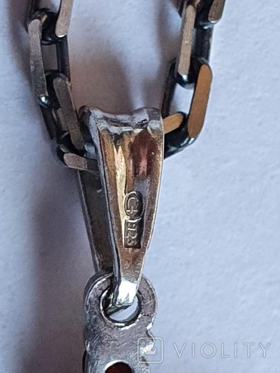 Крестик нательный. Серебро 925. Гранаты. Цепь 925 длина 50 см., фото №7