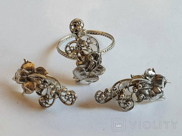 Советский набор кольцо + серьги. Серебро 875 проба. 20 размер., фото №2