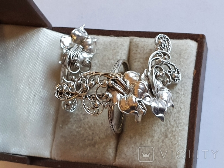 Советский набор кольцо + серьги. Серебро 875 проба. 20 размер., фото №5