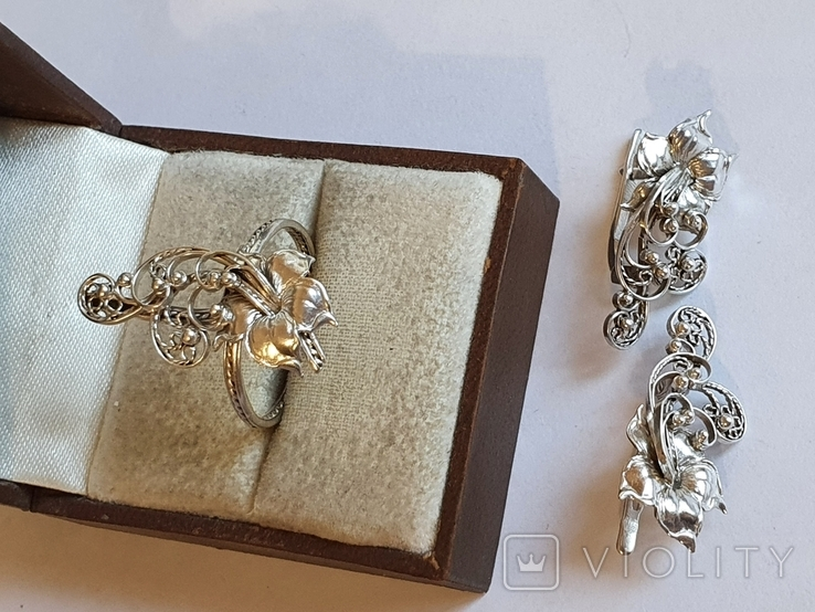 Советский набор кольцо + серьги. Серебро 875 проба. 20 размер., фото №6