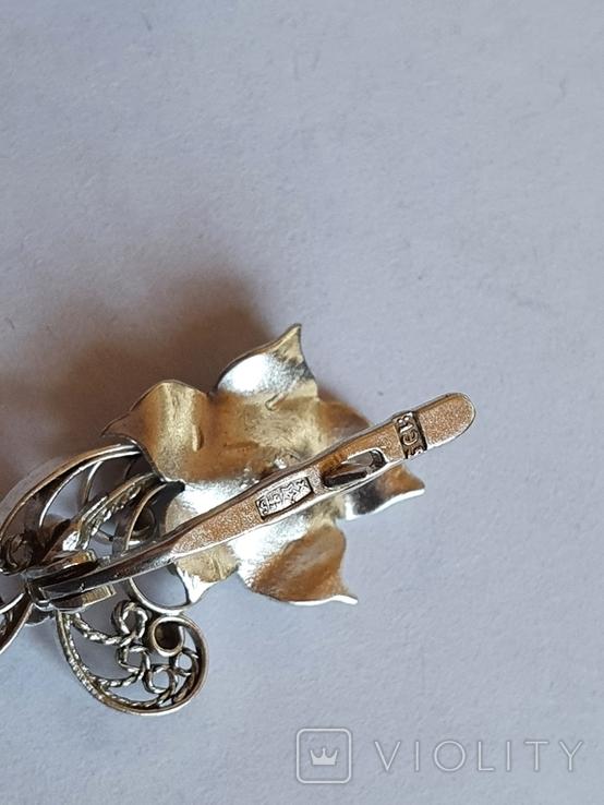 Советский набор кольцо + серьги. Серебро 875 проба. 20 размер., фото №8