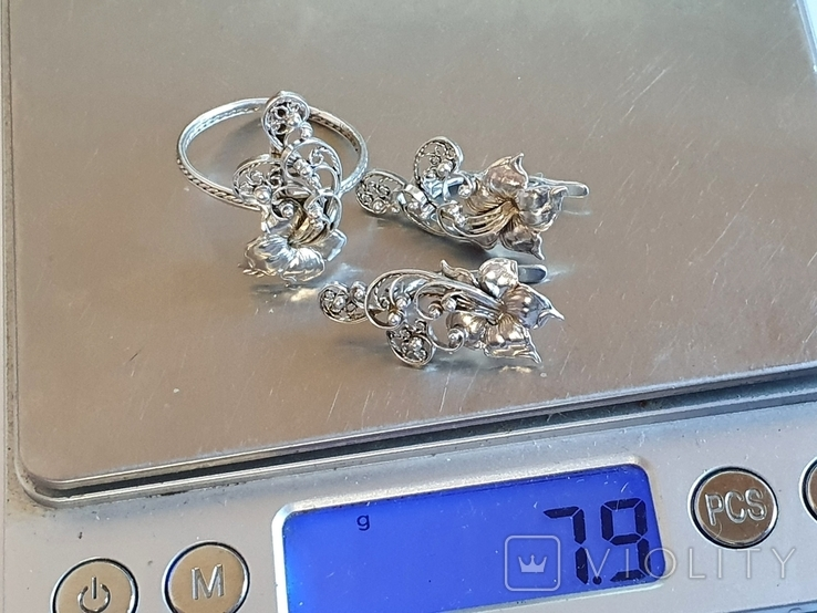 Советский набор кольцо + серьги. Серебро 875 проба. 20 размер., фото №9