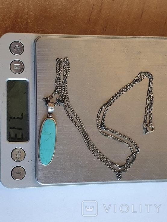 Кулон + цепочка 60 см. Серебро 925 проба. Бирюза., фото №8
