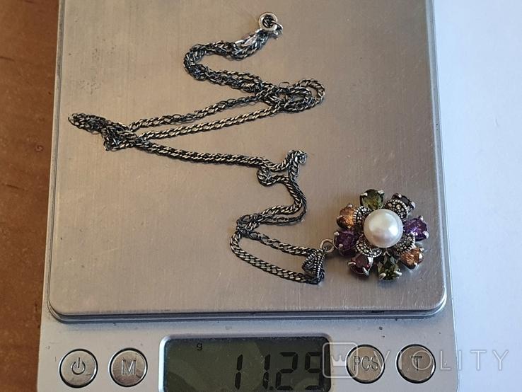 Кулон + цепочка 60 см. Серебро 925 проба. Жемчуг., фото №9