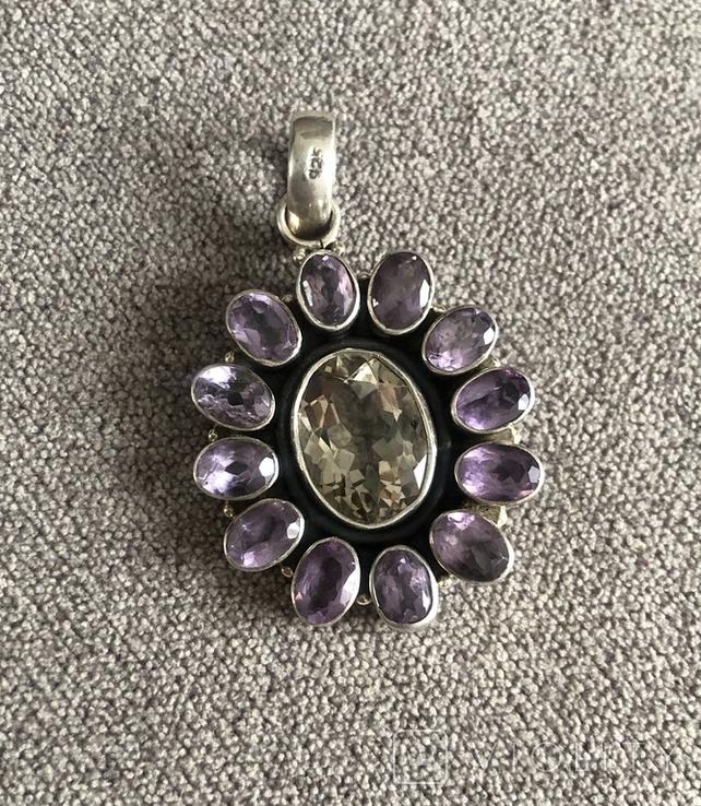 Массивный серебряный кулон с аметистом и цитрином (серебро 925 пр, вес 16,1 гр), фото №6