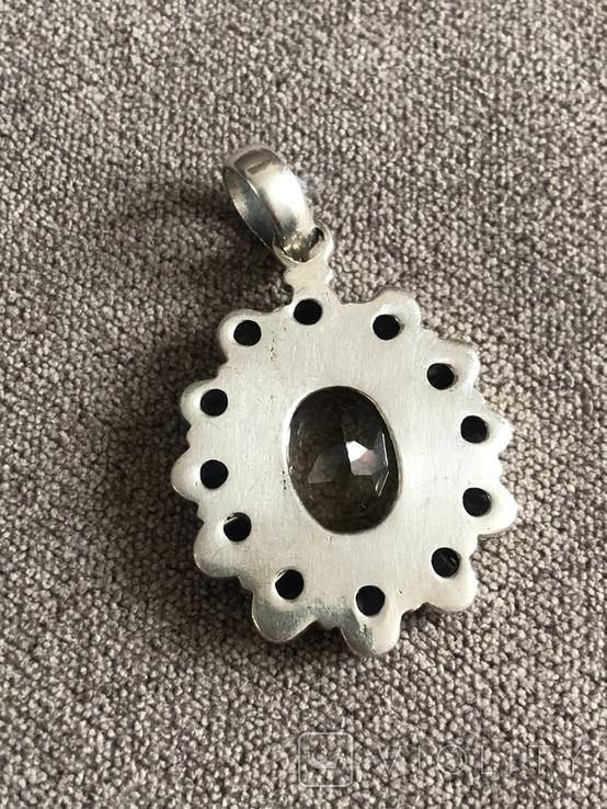 Массивный серебряный кулон с аметистом и цитрином (серебро 925 пр, вес 16,1 гр), фото №7