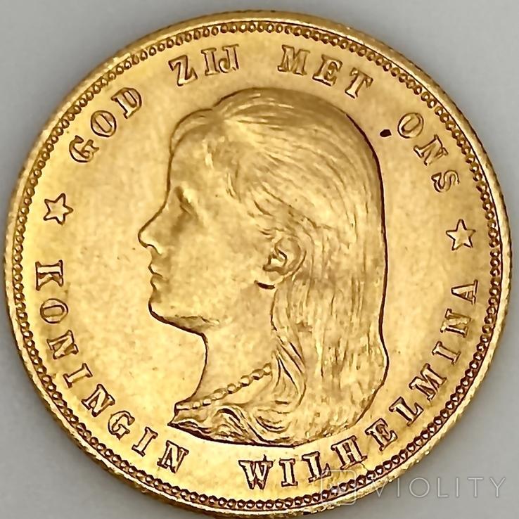 10 гульденов. 1897. Королева Вильгельмина. Нидерланды (золото 900, вес 6,66 г), фото №6