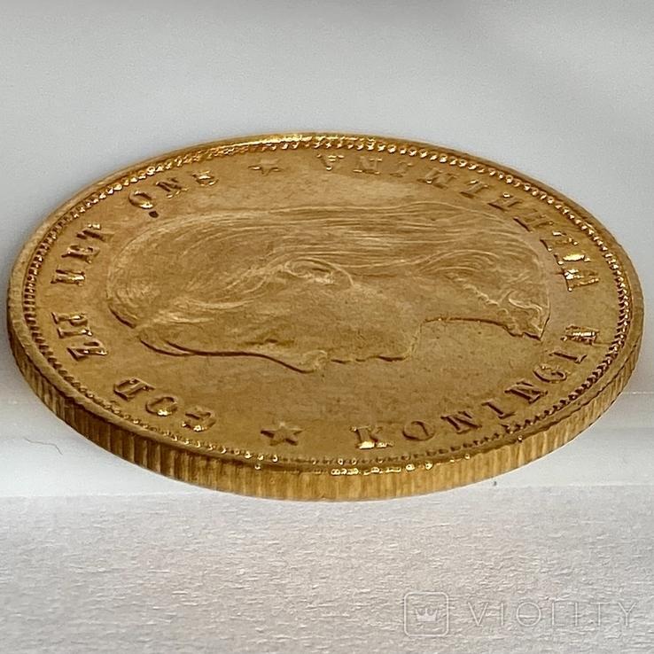10 гульденов. 1897. Королева Вильгельмина. Нидерланды (золото 900, вес 6,66 г), фото №12
