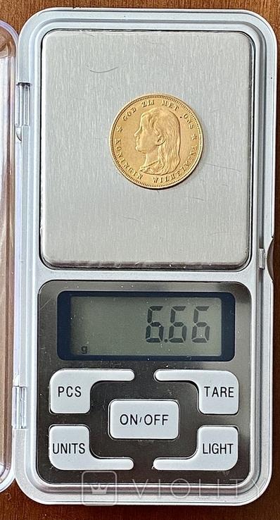 10 гульденов. 1897. Королева Вильгельмина. Нидерланды (золото 900, вес 6,66 г), фото №13