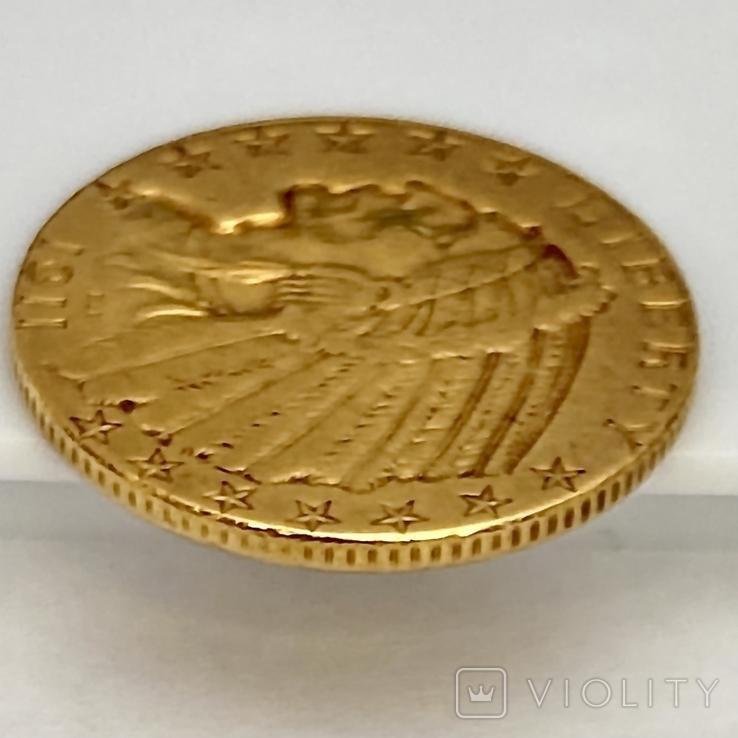 5 долларов. 1911. США (золото 900, вес 8,35 г), фото №9