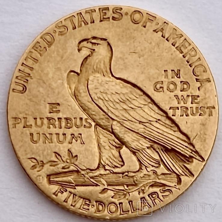 5 долларов. 1911. США (золото 900, вес 8,35 г), фото №12