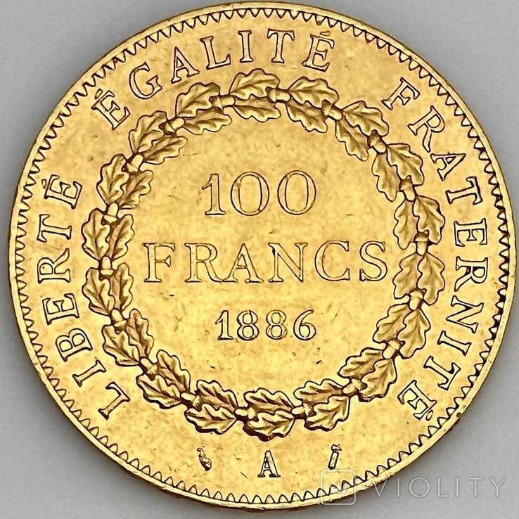 """100 франков. 1886. """"Золотой ангел"""" Франция (золото 900, вес 32,25 г), фото №5"""
